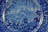 Antique Dark Blue Transfer Staffordshire Willow Border Plate Enoch Wood 1825