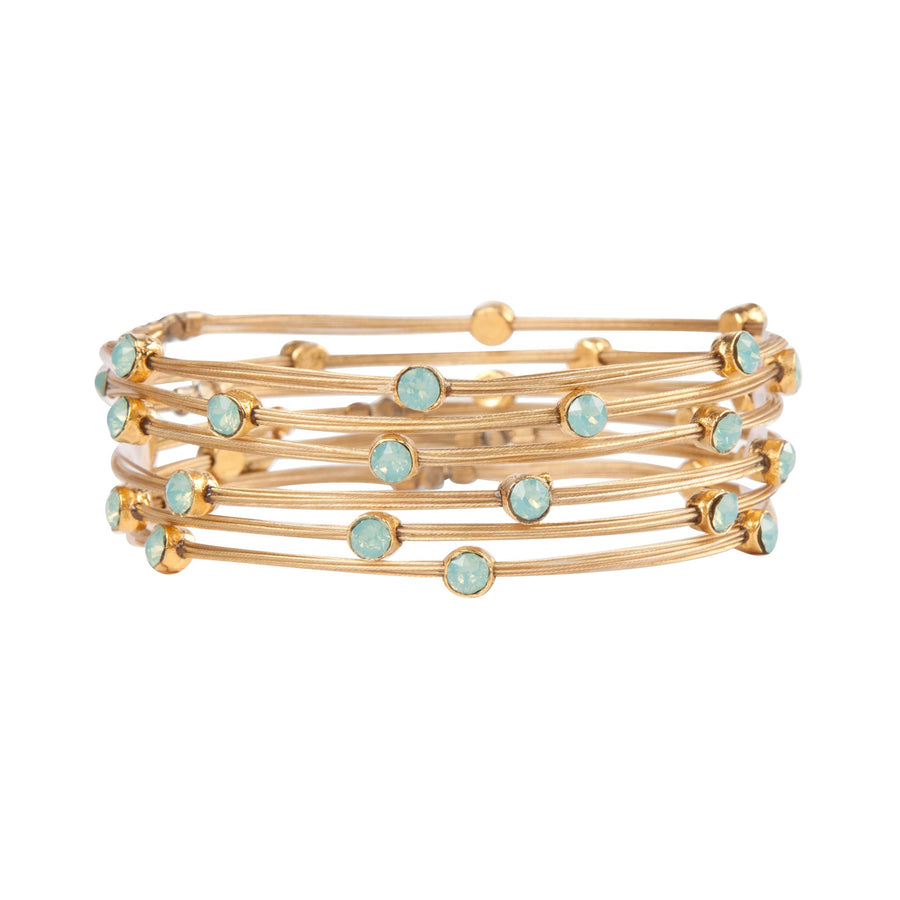 Jenna™  Swarovski Turquoise Opal Bangle Bracelet - Seasonal Whispers