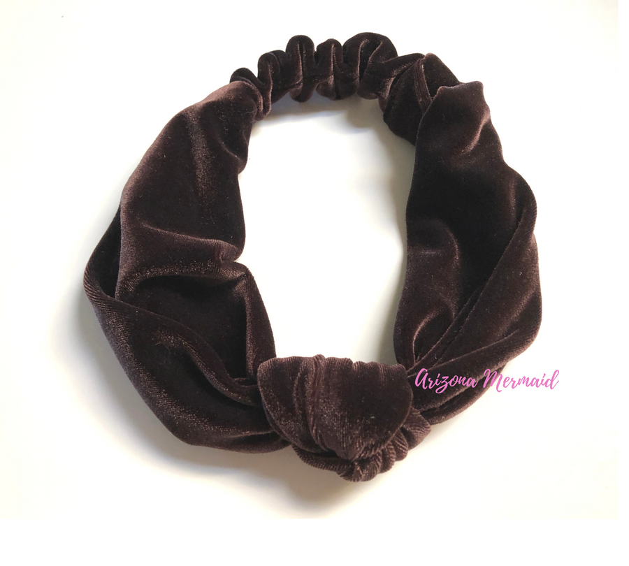 Velvet Top Knotted Stretch Headbands