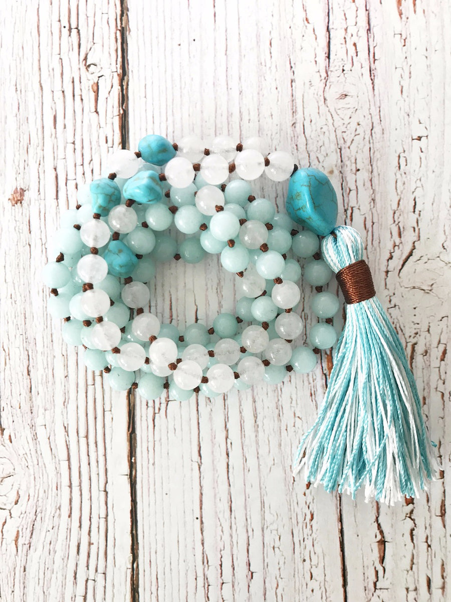 White Jade Mala Bead Prayer Necklace 📿