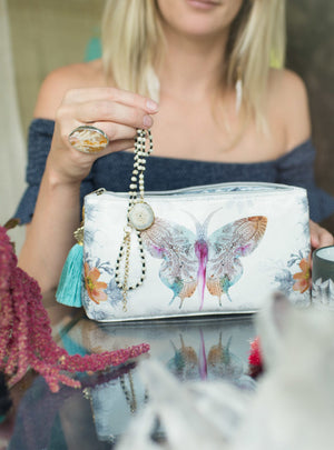 Paisley Butterfly Papaya Art Small Tassel Accessory Bag