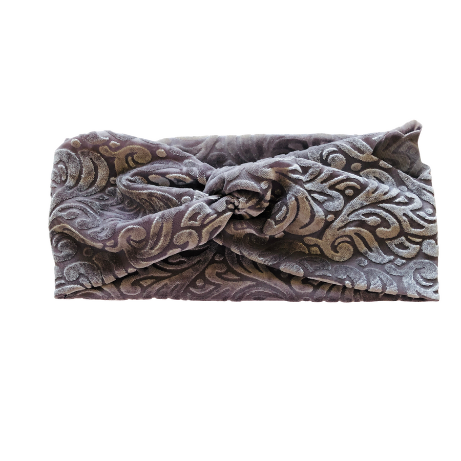 Burnt Velvet Twisted Knotted Wide Head Band - Solid Colors