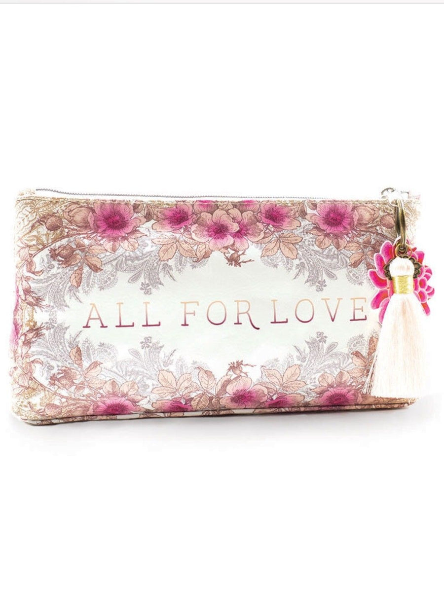ALL FOR LOVE Large Papaya Art TASSEL POUCH  Accessory Bag