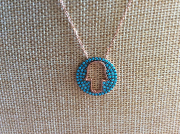 Turquoise Open Hamsa Necklace