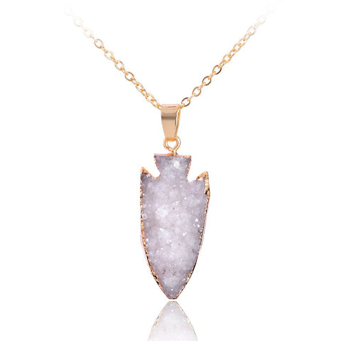 Natural Arrow Shape Druzy Geode Quartz Pendant Necklace