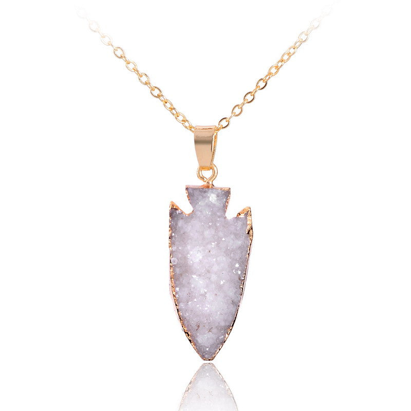 Natural Arrow Druzy Geode Quartz Pendant Necklace