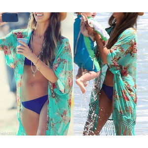 Chiffon Print Beach Cover Up