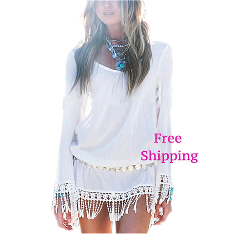 Lace Tassel  Bohemian Mini Dress