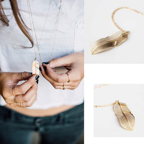 Gold Long feather necklace