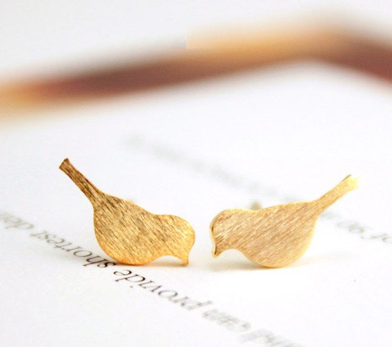 Brushed Bird Stud Earrings