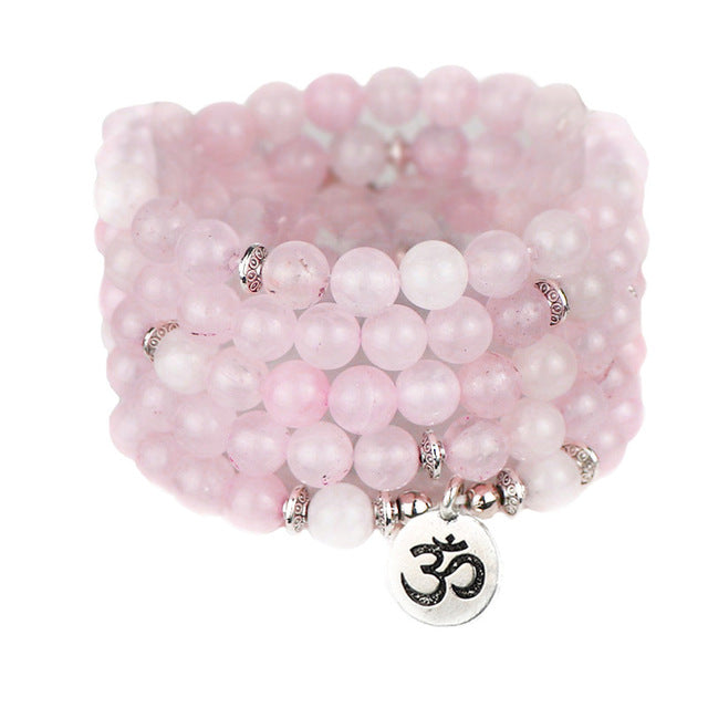 Rose Quartz Mala Prayer Beads with Charm