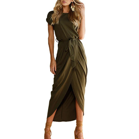 Solid Split Maxi Dress