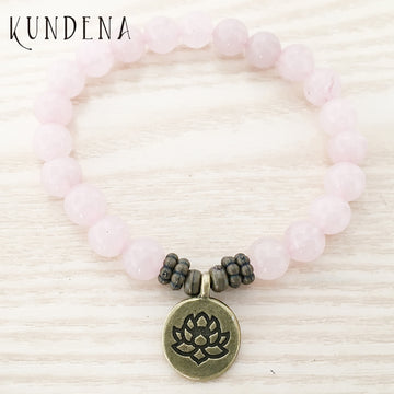 Natural Rose Quartz Bracelet with Charm