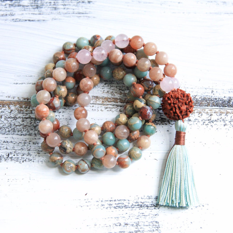 Natural Jasper Knotted Mala Prayer Beads