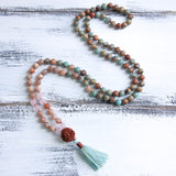 108 Natural Jasper Knotted Mala Prayer Beads