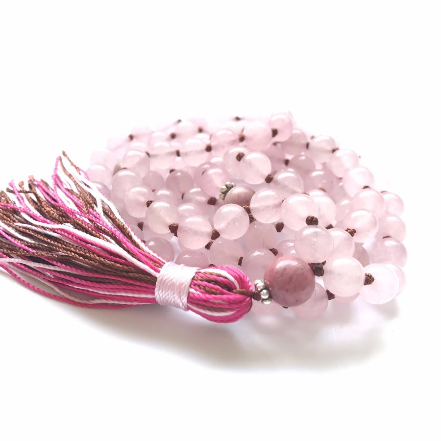Rose Quartz 108 hand knotted Mala Prayer Beads