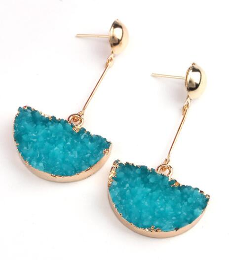 Druzy Drop Geo Earrings