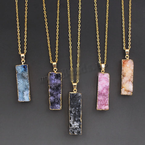 Colorful Natural Stone Necklace Quartz Druzy Crystal Necklace