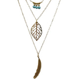 Multilayer Turquoise Feather Long Pendant Necklace