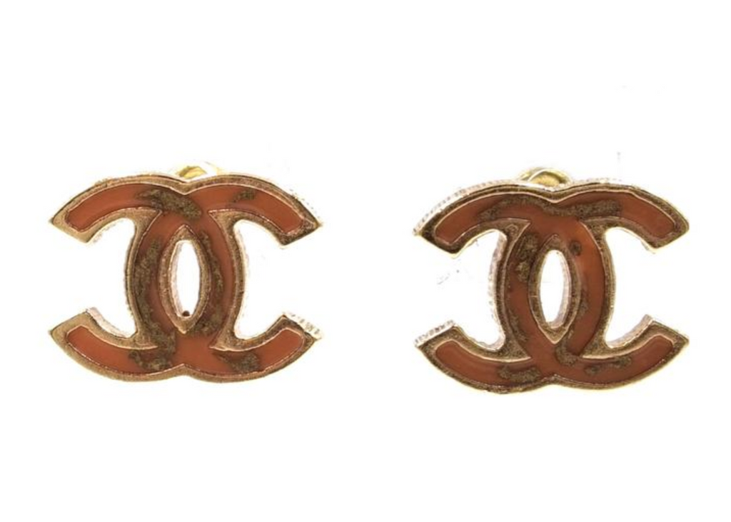 Chanel Pink-ish Caramel with Gold Flakes Inlay CC Enamel Plated Pierced Earrings