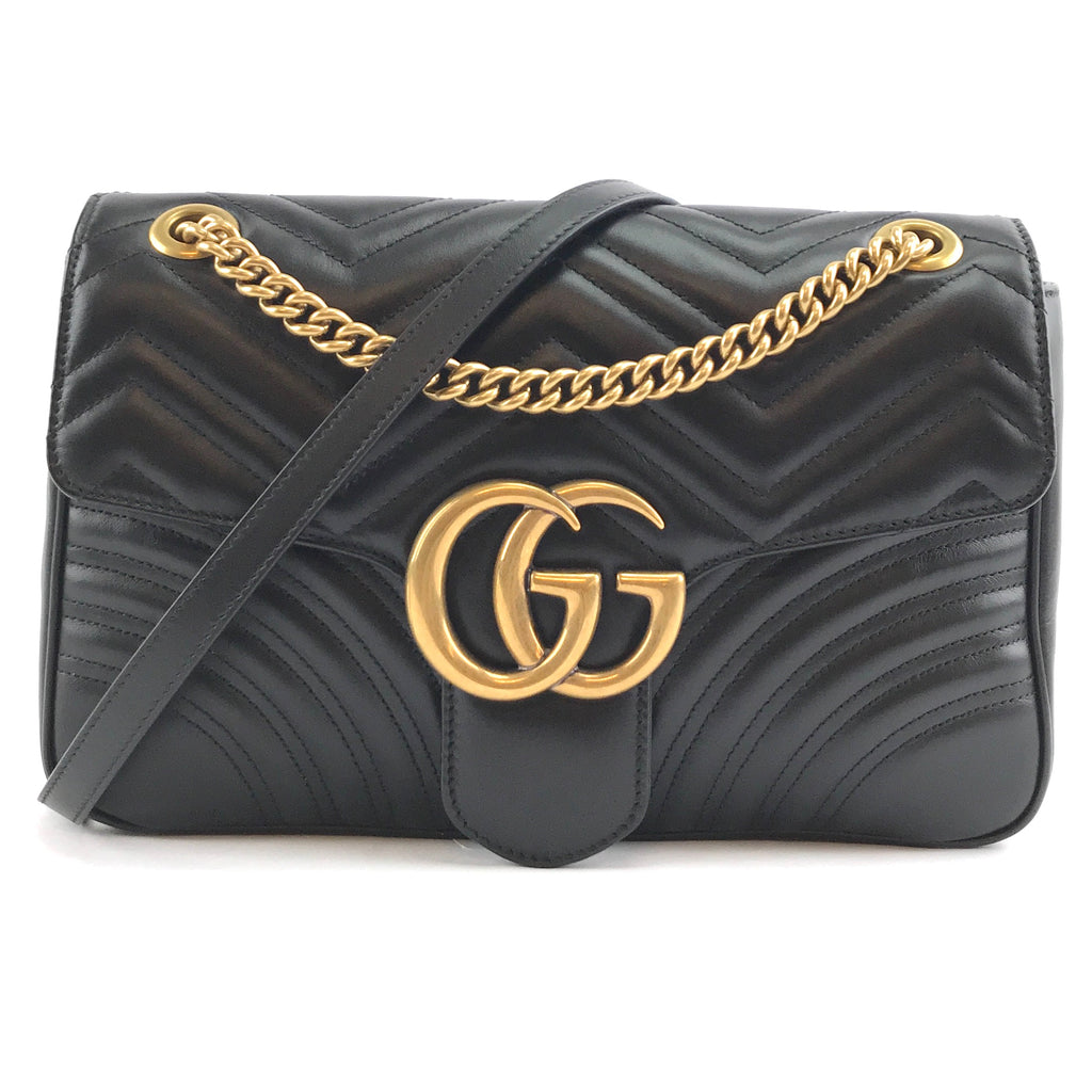 Gucci Marmont GG Flap Medium Black Leather