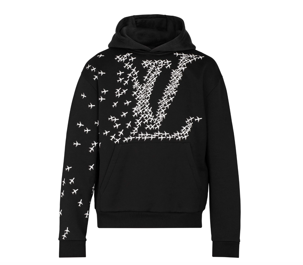 Louis Vuitton Black White Airplane Printed For Men Sweatshirt/Hoodie