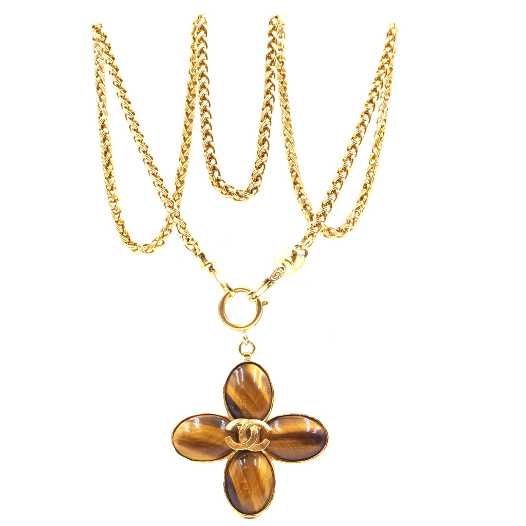 Chanel Tiger's Eye CC Gripoix Clover Gold Necklace