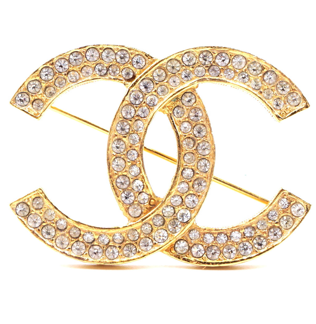 Chanel Gold Timeless CC Smoked Crystals Brooch