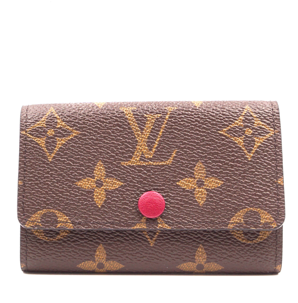 Louis Vuitton Monogram Emilie Fuchsia Leather Trifold 6 Ring Key Holder