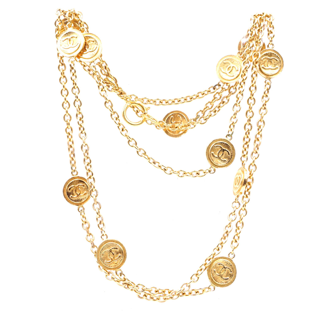 Chanel Gold 12 Medallion Motifs CC Charms Necklace