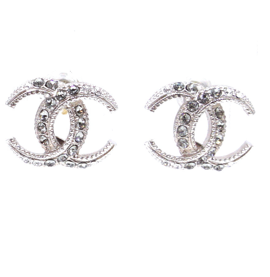 Chanel Silver Crystals CC Dubai Moon Mini Earrings