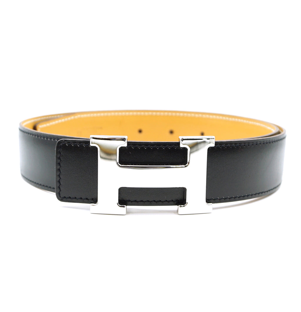 Hermès 32mm Classic Silver H Reversible Leather Belt Size 75
