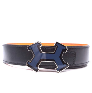 Hermès 32mm Street Enamel H Reversible Leather Belt Size 85