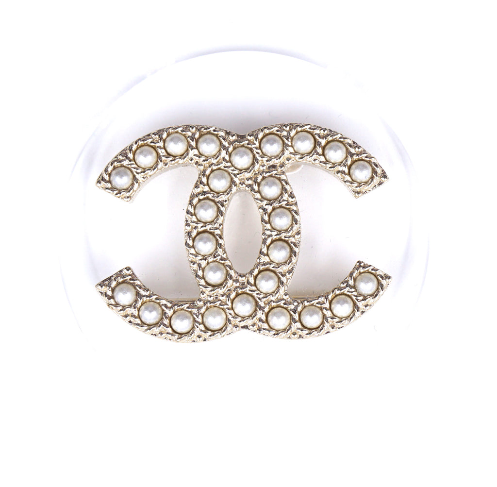 Chanel Gold Clear Inlay Cc Pearls Round Brooch