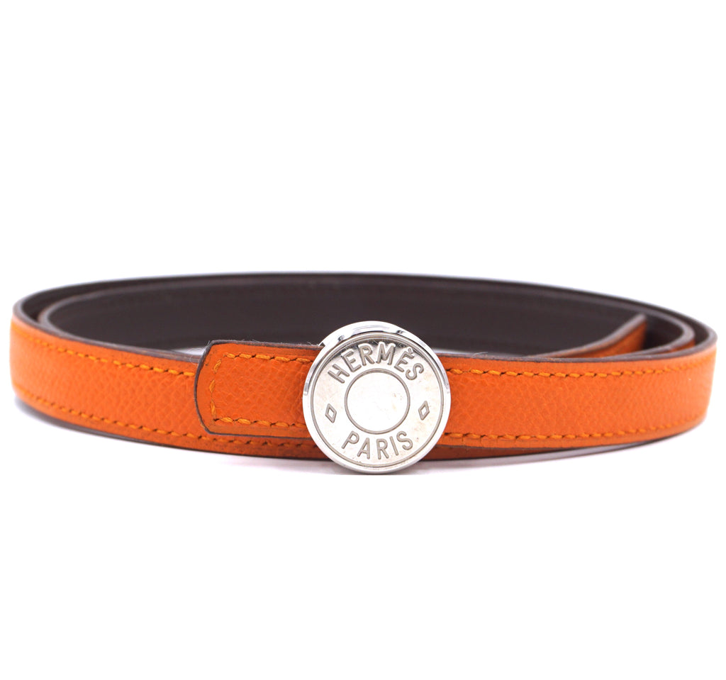 Hermès Skinny Round Buckle Reversible Leather Belt Size 80