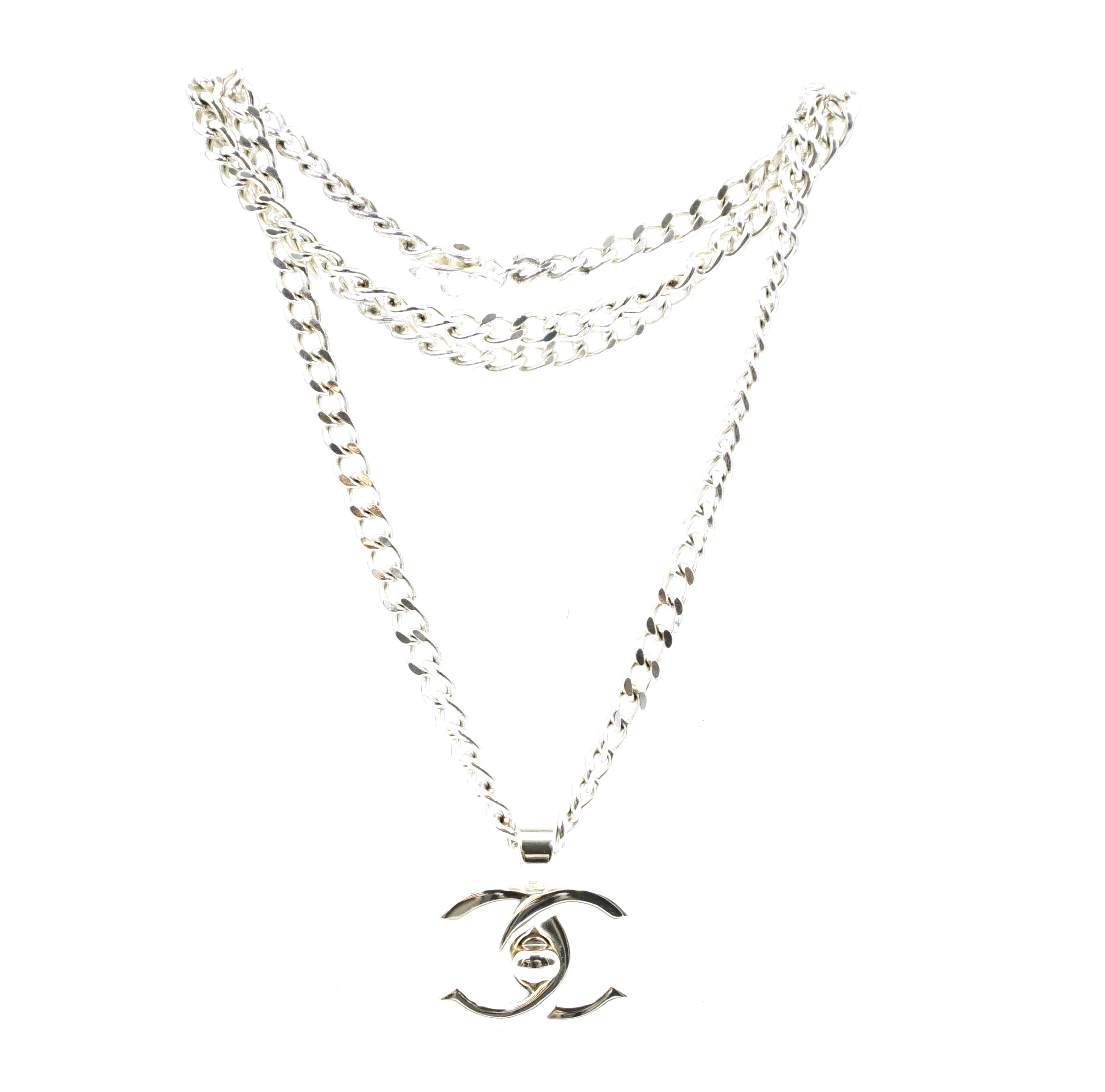 Chanel Silver XL CC Turnlock Logo Long Chain Necklace