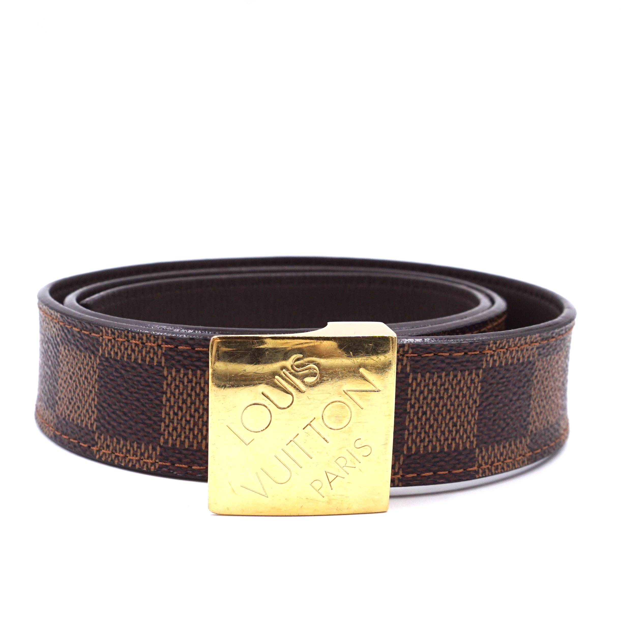 Louis Vuitton Damier Ebene Gold Buckle Leather Size 85/34 Belt