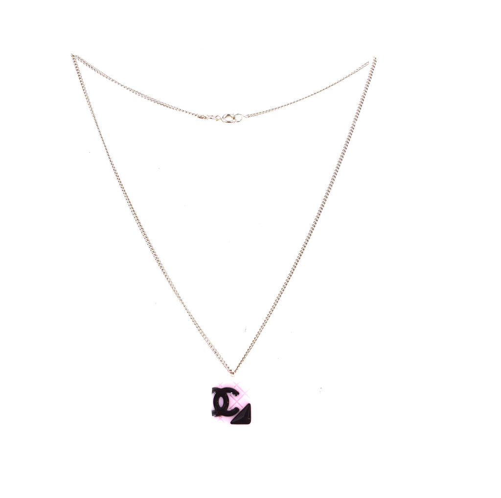 Chanel Gold Pink Cambon Cc Charm Chain Necklace