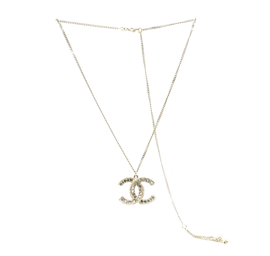 Chanel Gold Crystals Multicolor Smoked Long Chain Necklace