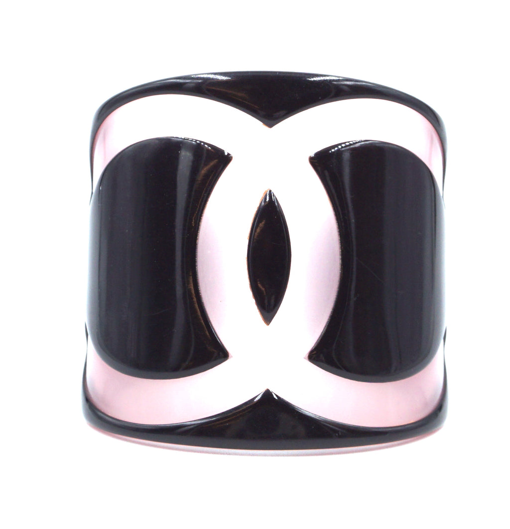 Chanel Black Pink Large Wide Cc Cuff
