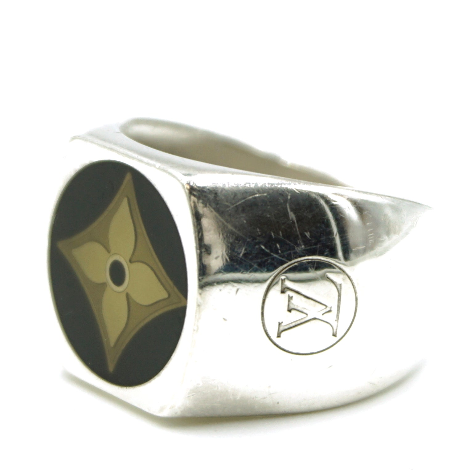 Louis Vuitton Silver 925 Sterling Fleur Monogram Wide Ring