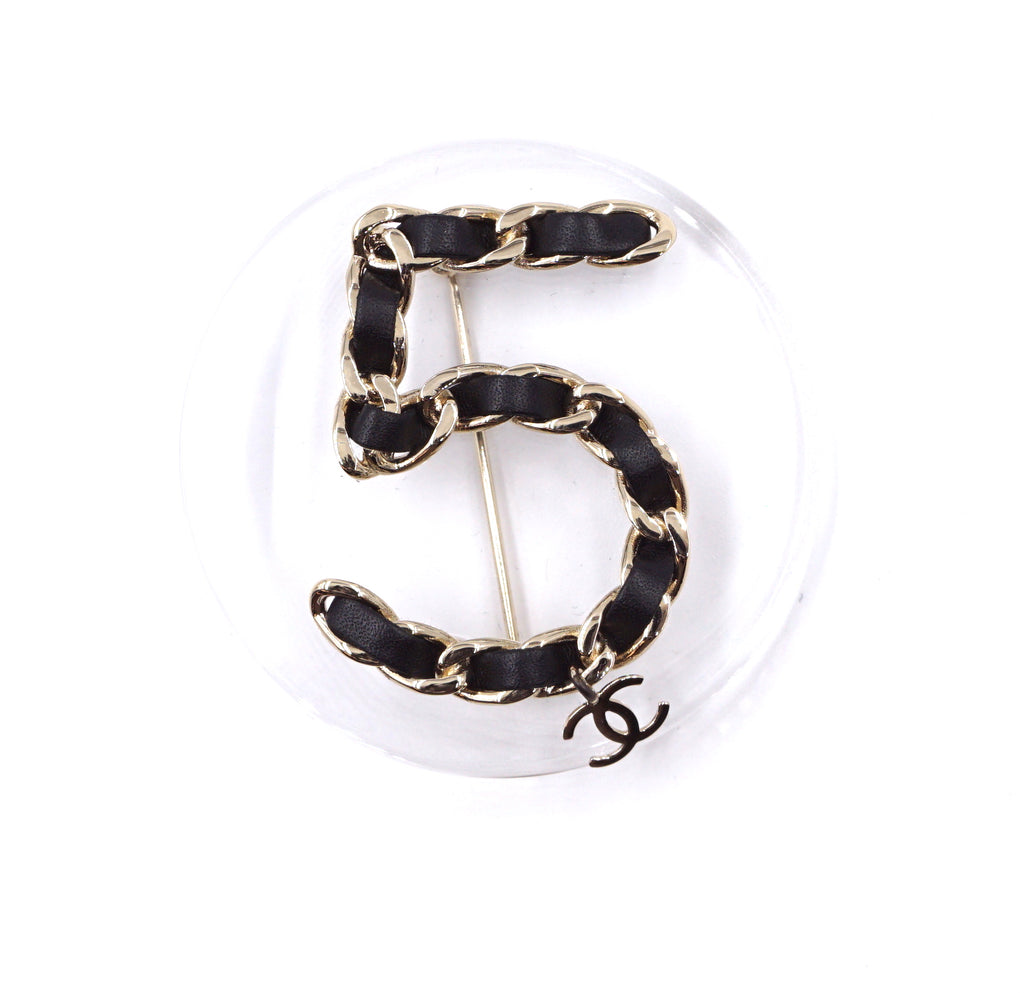Chanel Clear Black Number 5 Round Silver Brooch
