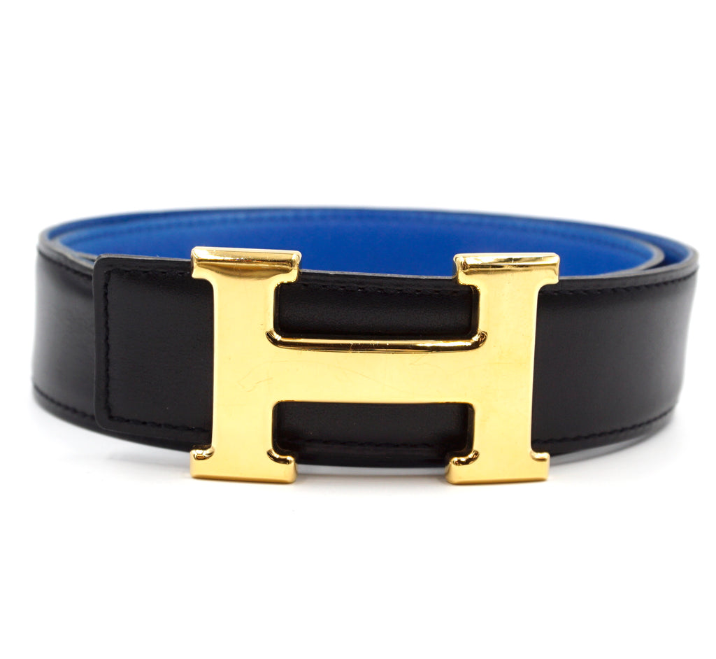 Hermès 32mm Gold H Reversible Leather Size 70 Belt