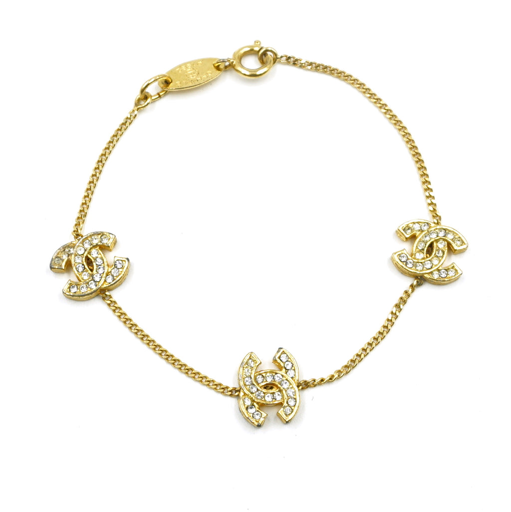 Chanel Gold CC Smoked Crystals Charms Chain Bracelet