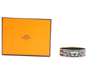 Hermès Logo Icon Plated Wide Gold Black Bangle
