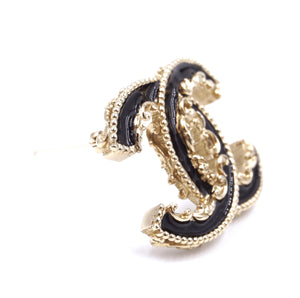 Chanel Gold Black CC Enamel Brooch