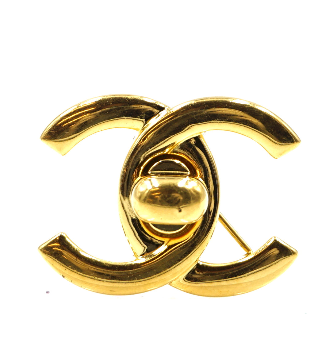 Chanel CC Turnlock Gold Hardware Brooch