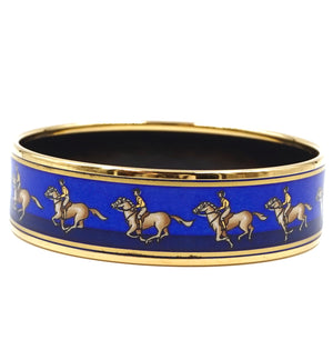 Hermès Logo Icon Plated Wide Gold Blue Bangle