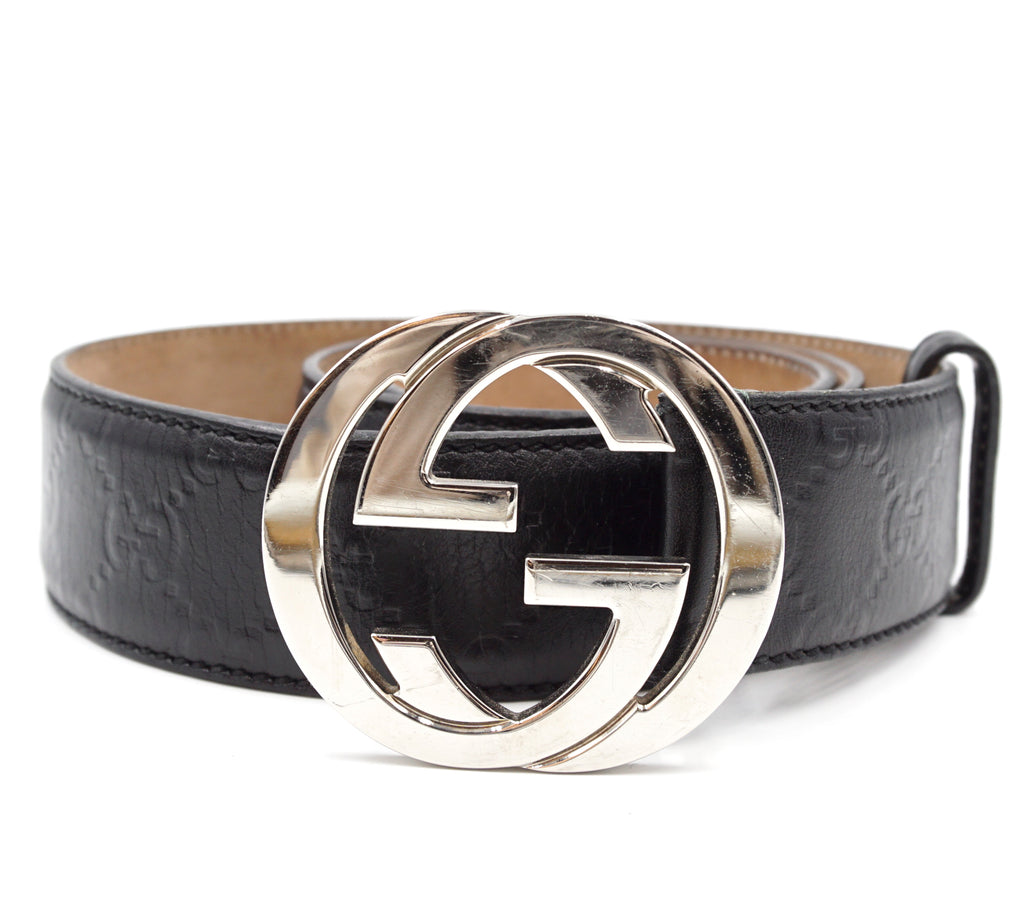 Gucci Black GG Silver Buckle Leather Size 90/36 Belt
