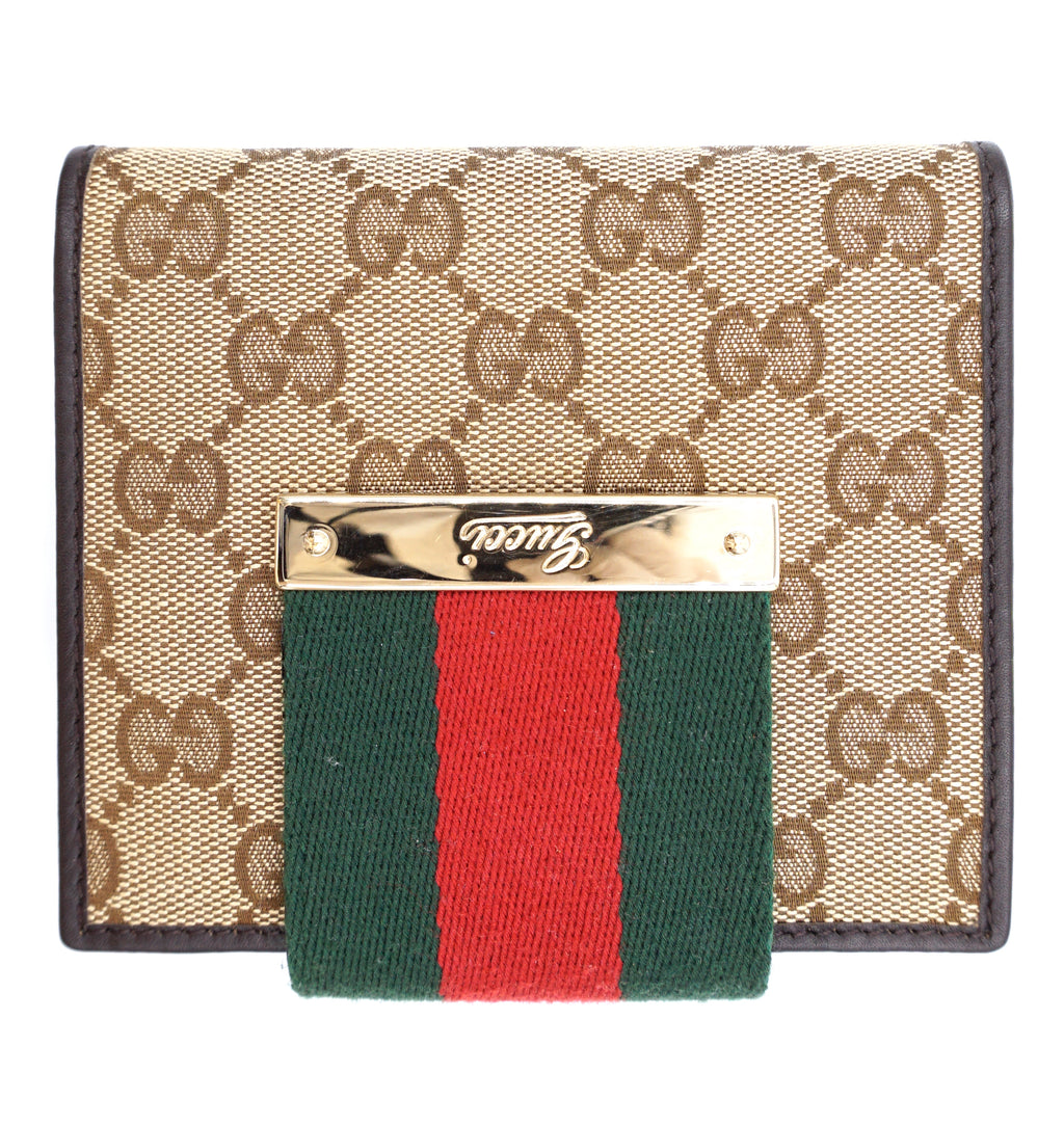 Gucci Brown Green Red Web Bifold Wallet